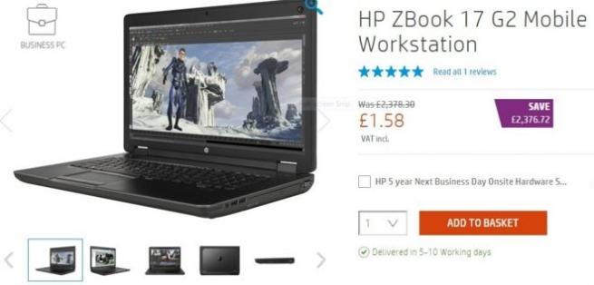 В британском онлайн-магазине HP стоимость одного из ноутбуков упала в 1 500 раз